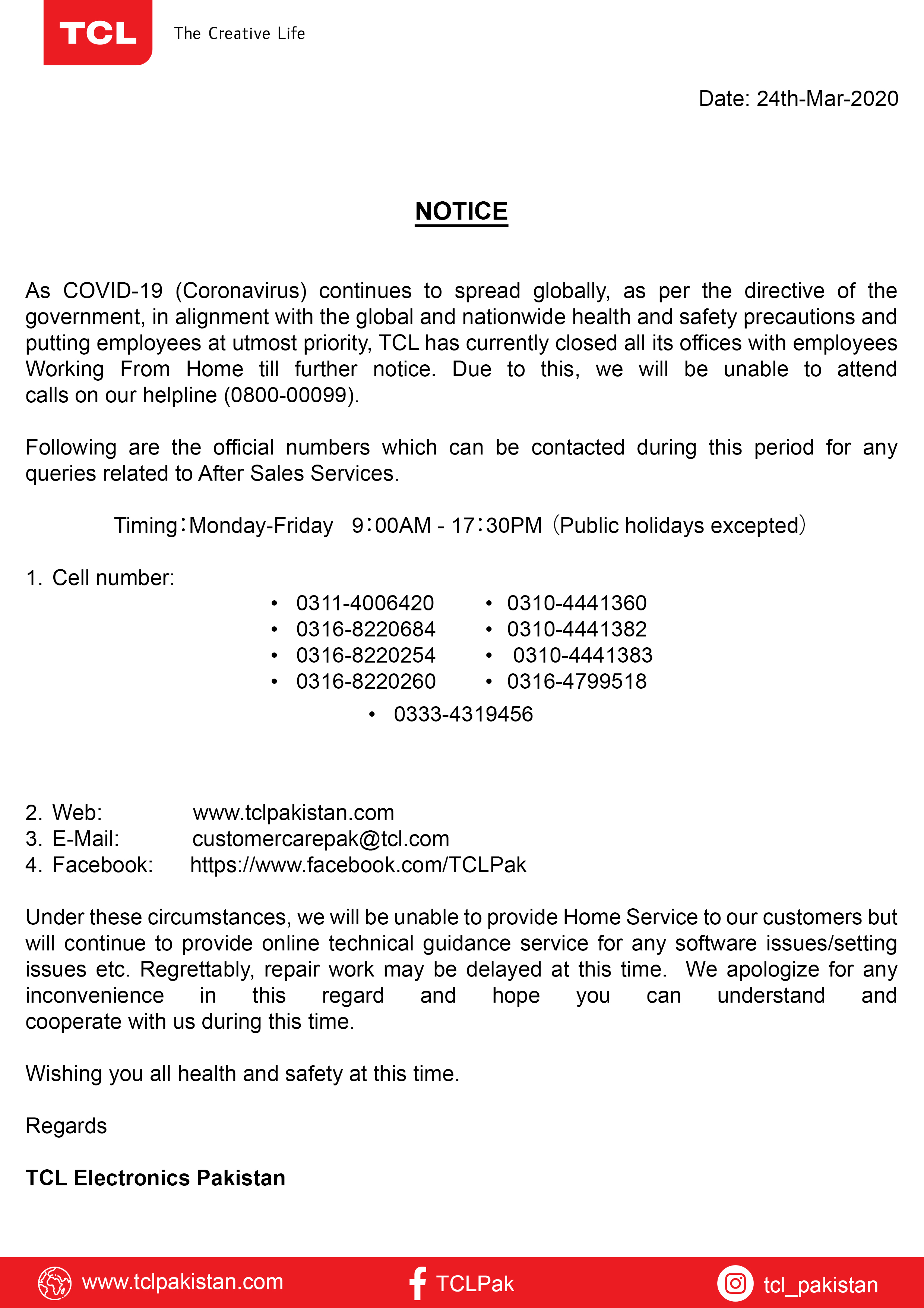 Important Notice to All - Covid 19 Measures