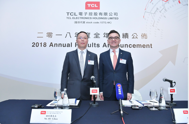 TCL Electronics'Turnover Hits Historical High of US$5.86 Billion in 2018 Profit Attributable to Owners of the Parent after Extraordinary Items Strongly Surged by 30.8% YoY
