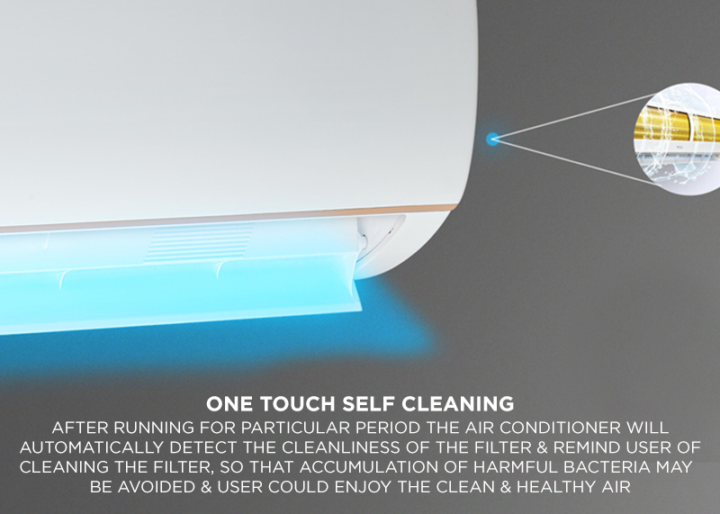 One touch Self Cleaning - After Running for particular period the air Conditioner will automatically detect the cleanliness of the filter & remind user of cleaning the filter, so that accumulation of harmful bacteria may be avoided & user could enjoy the clean & Healthy air.