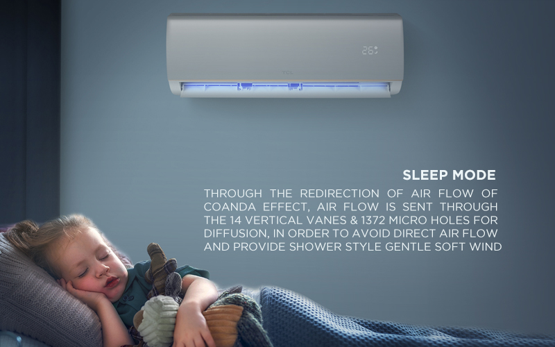 Sleep Mode - Through the redirection of air flow of Coanda effect, air flow is sent through the 14 Vertical Vanes & 1372 Micro Holes for diffusion, in order to avoid direct air flow and provide shower style gentle soft wind