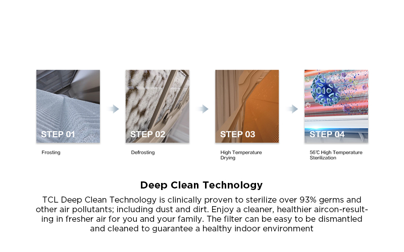 Deep Clean Technology - TCL Deep Clean Technology is clinically proven to sterilize over 93% germs and other air pollutants; including dust and dirt. Enjoy a cleaner, healthier aircon-resulting in fresher air for you and your family. The filter can be easy to be dismantled and cleaned to guarantee a healthy indoor environment