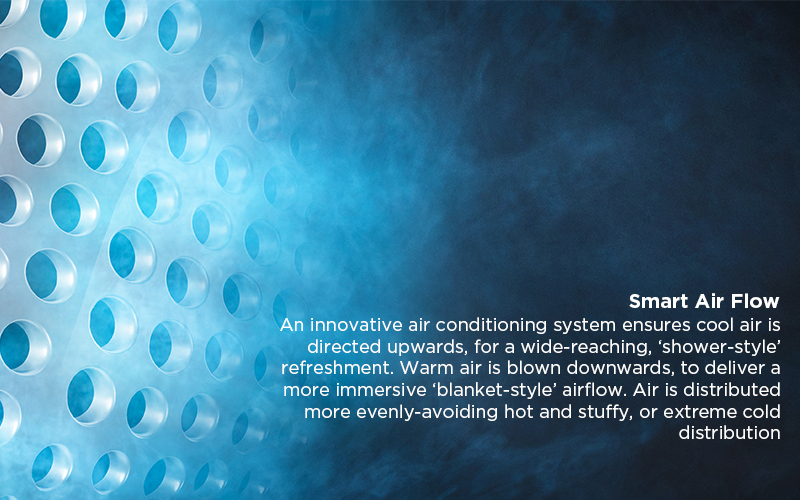 Smart Air Flow - An innovative air conditioning system ensures cool air is directed upwards, for a wide-reaching, 'shower-style' refreshment. Warm air is blown downwards, to deliver a more immersive 'blanket-style' airflow. Air is distributed more evenly-avoiding hot and stuffy, or extreme cold distribution